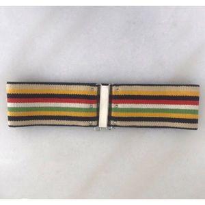 [vintage] 70s striped stretch belt